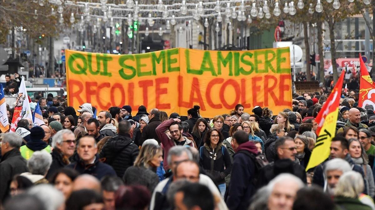 Manifestación contra la reforma de las pensiones, en Marsella.