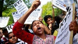Manifestación en protesta por la violación y el asesinato de la niña india de ocho años, en abril del 2018.