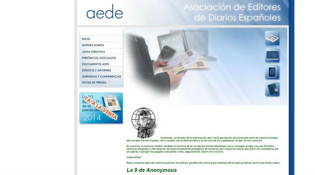 El mensaje que Anonymous ha colgado en la web de AEDE este jueves, tras aprobarse el proyecto de reforma de la ley de propiedad intelectual.