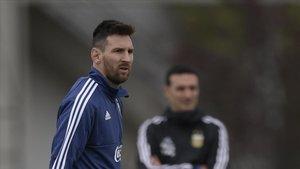 Messi, en un entrenamiento con la selección argentina en Ezeiza (Buenos Aires).