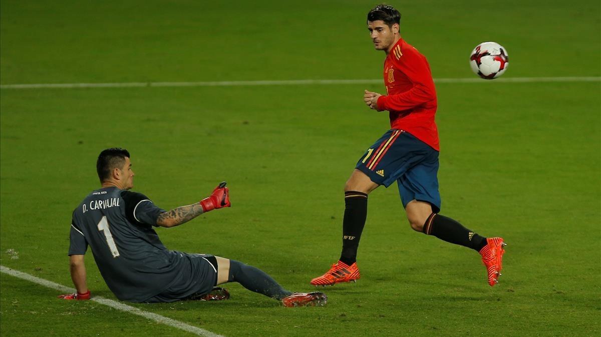Morata, en una clara ocasión de gol.