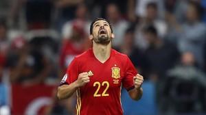 Nolito celebra el gol que marcó a Turquía.