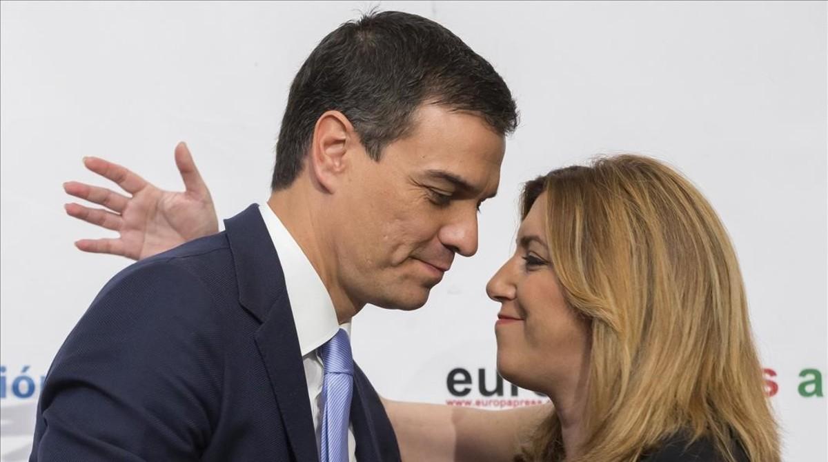 Pedro Sánchez y Susana Díaz, el pasado mes de junio en un desayuno informativo enSevilla.