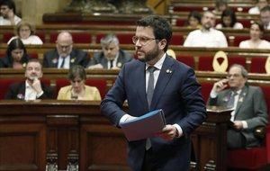 Pere Aragonès, en el pleno del Parlament.