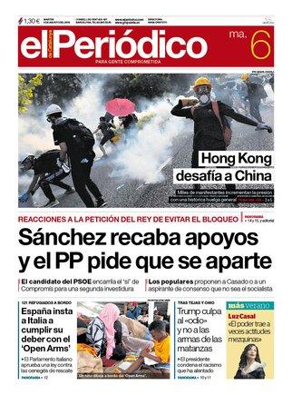 La portada de EL PERIÓDICO del 6 de agosto del 2019