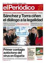 La portada de EL PERIÓDICO del 27 de febrero del 2020
