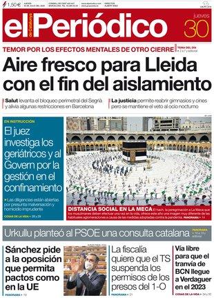 La portada de EL PERIÓDICO del 30 de julio del 2020