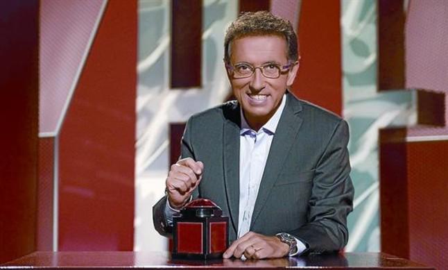 El presentador Jordi Hurtado, durante la grabación del concurso Saber y ganar.