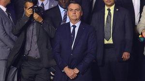 El presidente brasileño, Jair Bolsonaro, durante un encuentro de la Copa América entre Brasil y Bolivia, este viernes, en Sao Paulo.