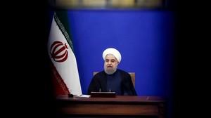 El presidente iraní, Hasán Rohaní, durante la entrevista televisivatras la implementación de nuevas sanciones.