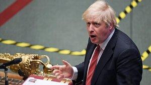 El primer ministro británico, Boris Johnson, durante su comparecencia en el Parlamento este lunes.