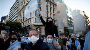 Protesta contra la cuarentena impuesta por el Gobierno argentino, el pasado 17 de agosto en Buenos Aires.