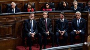 Rajoy, Rodríguez Zapatero, Aznar y González, en 40º aniversario de la Constitución.