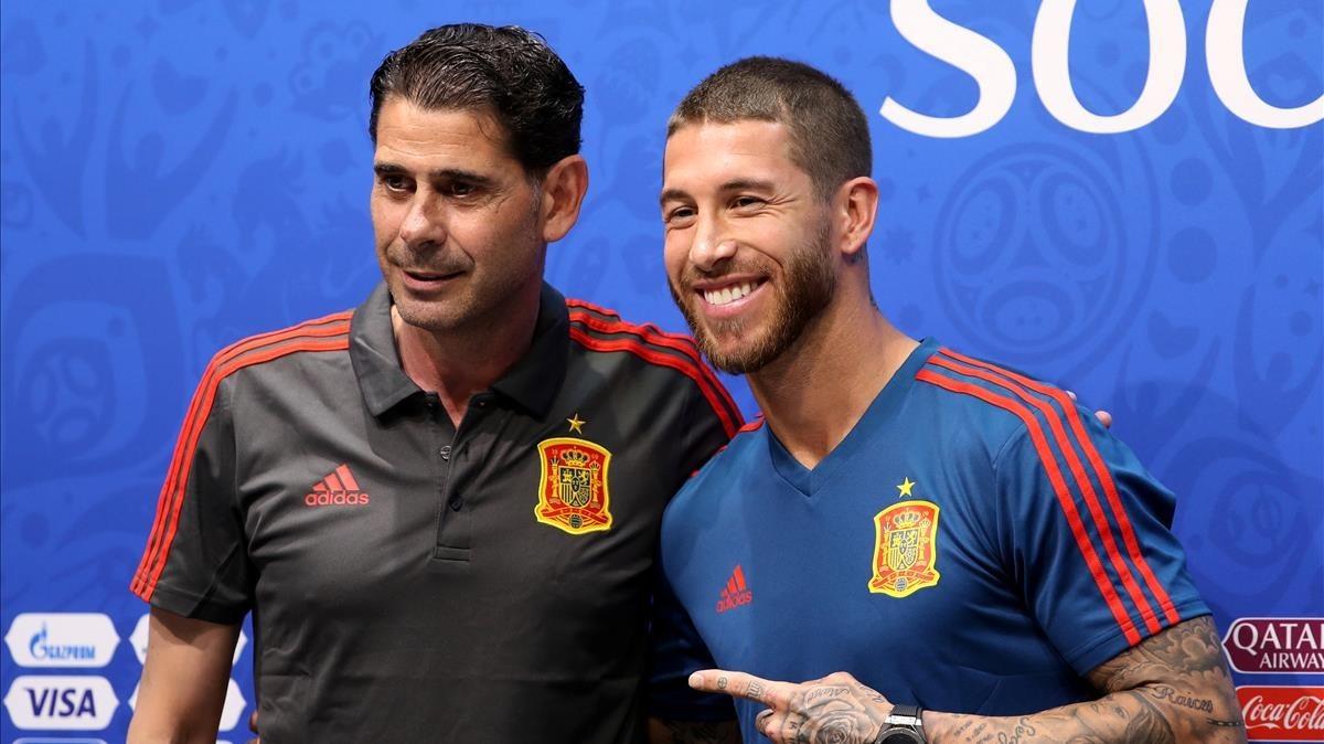 Ramos y Hierro, en Sochi durante la conferencia de prensa previa al duelo con Portugal.