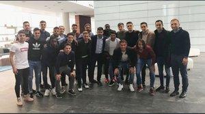 Los jugadores del Reus, este martes antes de la reunión con LaLiga.