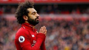 Salah festeja su gol al Chelsea, el 2-0 del Liverpool.