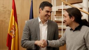 Sánchez e Iglesias, durante su reunión en el Congreso el pasado 5 de febrero.
