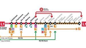Infografía sobre el tramo de la L1 afectado por las obras.