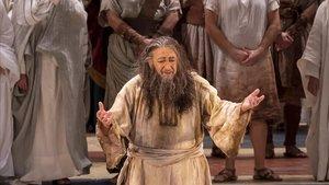 El tenor Plácido Domingo, durante su última actuación en Valencia en la ópera 'Nabucco'.