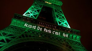 The Eiffel tower is illuminated in green with the words Paris Agreement is Done, to celebrate the Paris U.N. COP21 Climate Change agreement in Paris, France, November 4, 2016. REUTERS/Jacky Naegelen