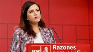 La portavoz del comité electoral federal del PSOE, Esther Peña.