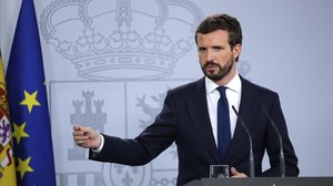 Pablo Casado, este miércoles en la sala de prensa de la Moncloa tras su reunión con Pedro Sánchez.
