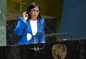 La vicepresidenta de Venezuela, Delcy Rodríguez, en la 74ª reunión de Naciones Unidas el pasado 2019.