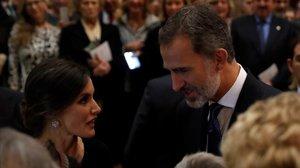 Los reyes Felipe y Letizia tras el XXVII Concierto Premios Princesa de Asturiasen el Auditorio Principe Felipe de Oviedo.