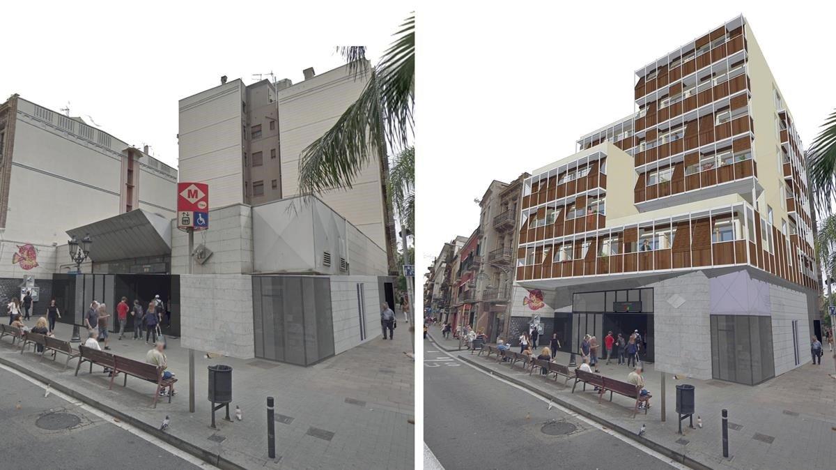 La boca de metro de Fontana, un ejemplo de aprovechamiento posible de edificabilidad asequible.