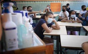 Clases en tiempos de coronavirus en un colegio de Barcelona.