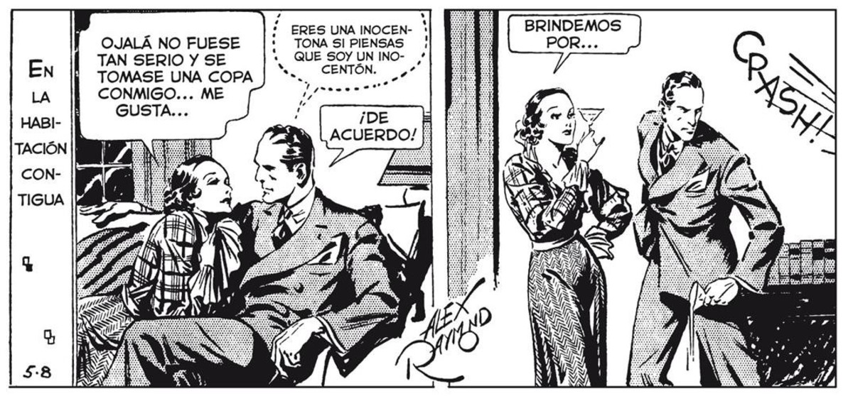 Viñeta de las tiras para prensa de la serie Agente Secreto X9, con guion de Dashiell Hammett y dibujo de Alex Raymond, publicada en mayo de 1934.
