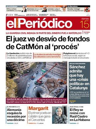 La portada d'EL PERIÓDICO del 15 de novembre del 2019