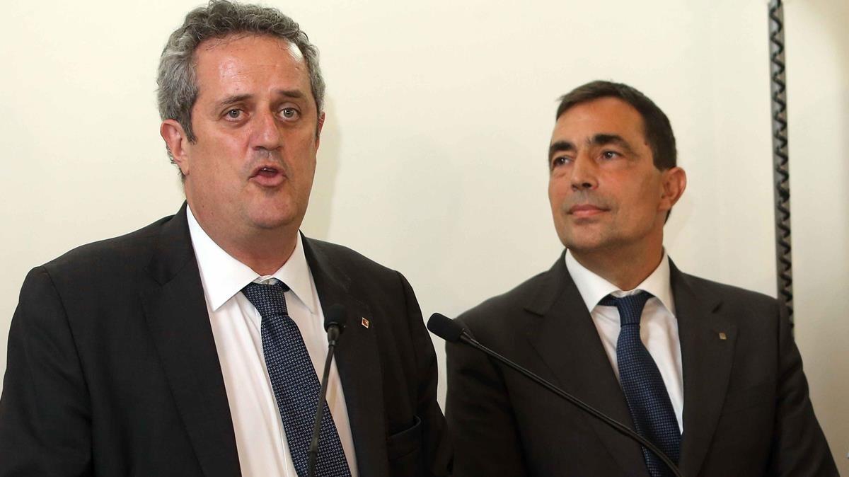 El conseller de Interior, Joaquim Forn, y el director de los Mossos,Pere Soler.