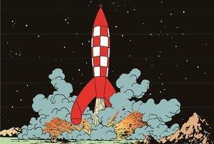Una viñeta de Aterrizaje en la Luna, con el icónico cohete ajedrezado inspirado en los misiles V2 diseñados por Wernher von Braun para el nazismo.