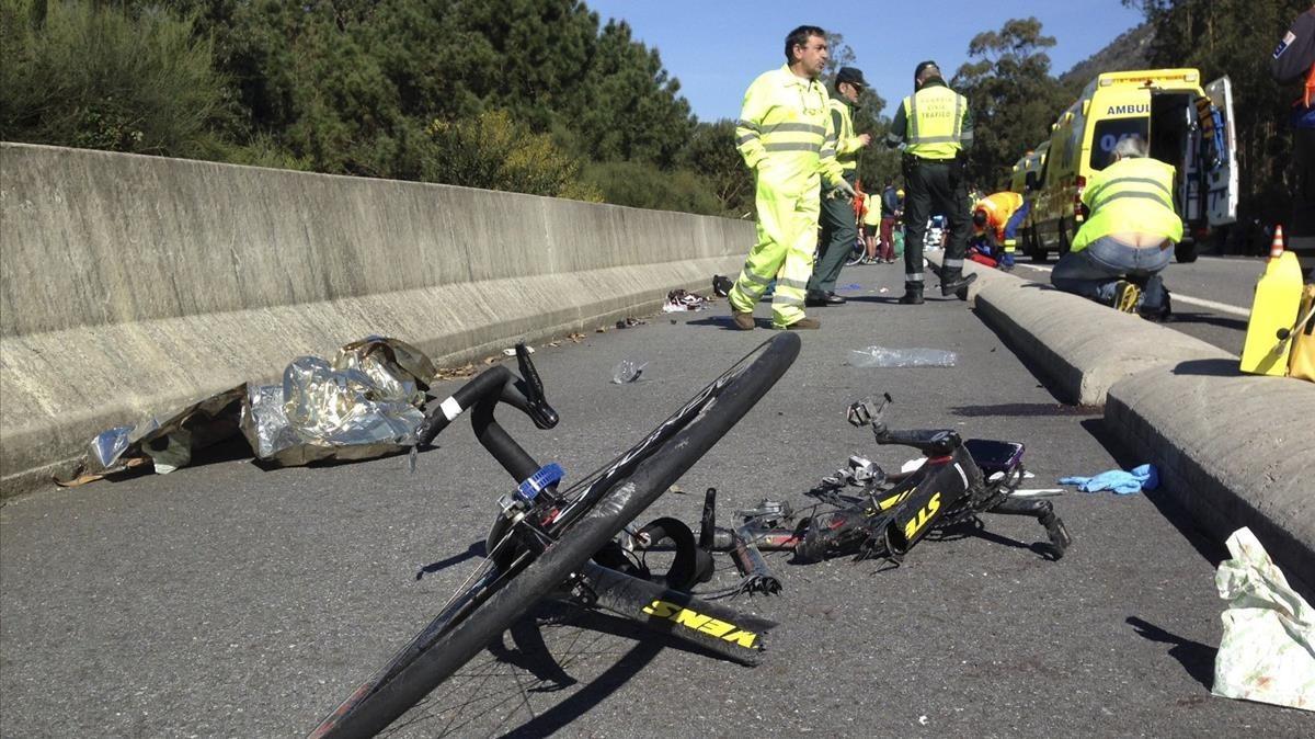 Accidente de un grupo de ciclistas en A Guarda, Pontevedra.