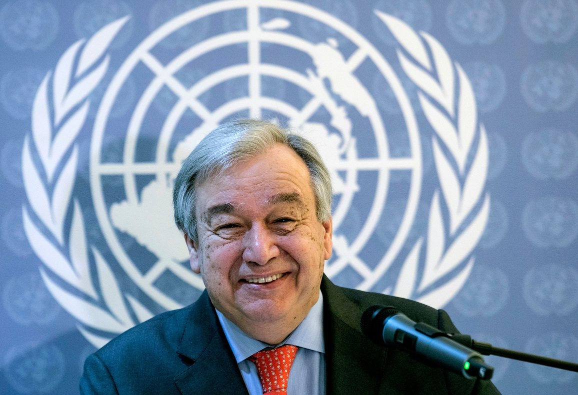 UN Secretary-General Antonio Guterres offers a press conference in Buenos Aires where he will take part in the G20 summit-Photo by Alberto RAGGIOAFP