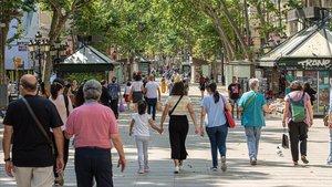 Ambiente en la Rambla de Barcelona.