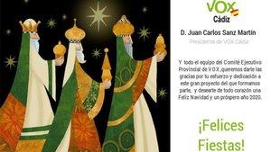 La felicitació nadalenca de Vox Cadis es fa viral per ser els tres Reis d'Orient blancs