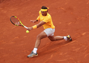 Tennis - ATP 500 - Barcelona Open - Real Club de Tenis Barcelona-1899, Barcelona, Spain - April 29, 2018 Spains Rafael Nadal in action during the final against Greeces Stefanos Tsitsipas REUTERS/Albert Gea