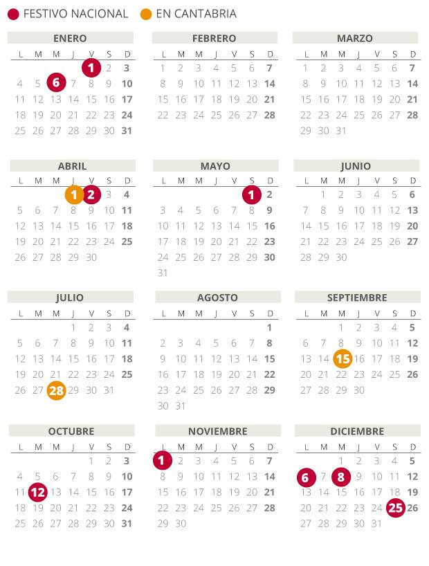 Calendario laboral de Cantabria del 2021.
