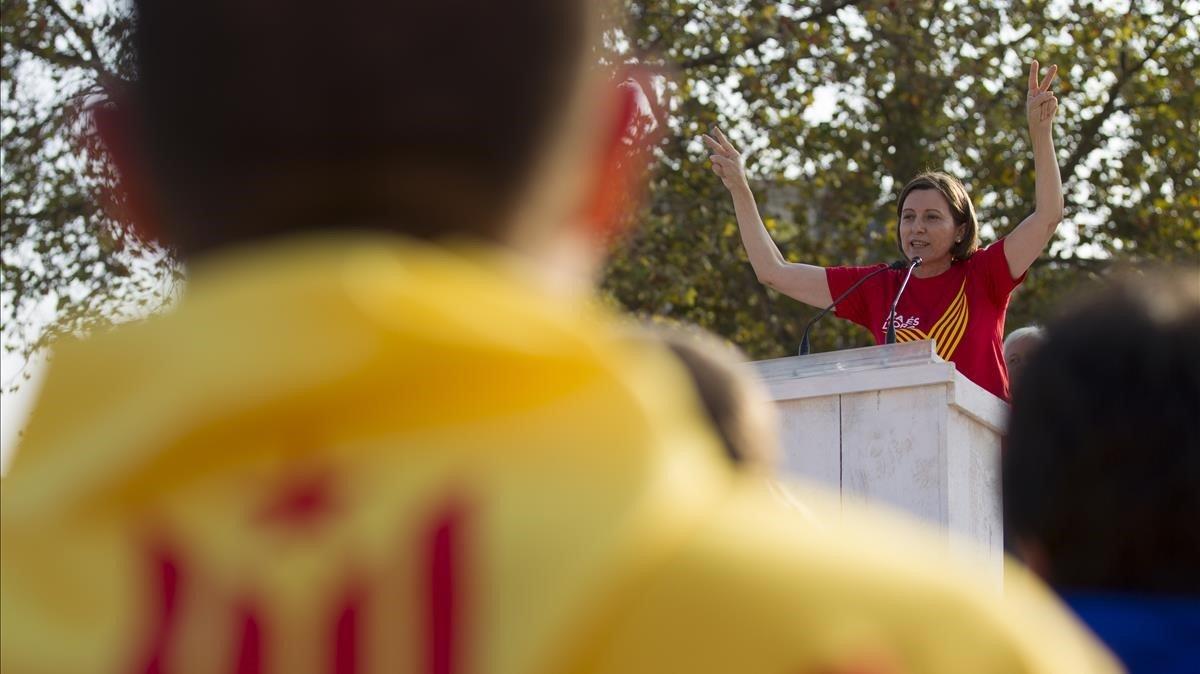 Carme Forcadell, el Onze de Setembre del 2014, cuando pronunció el célebre 'President, posi les urnes'.