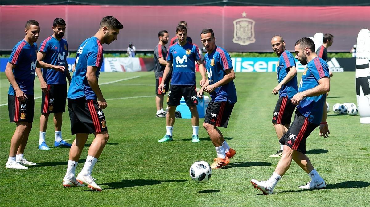 Carvajal, en su primer entrenamiento con el grupo en Krasnodar.