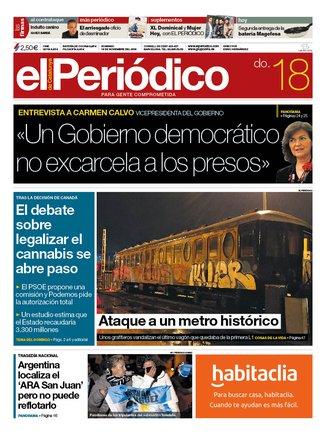 La portada d'EL PERIÓDICO del 18 de novembre del 2018