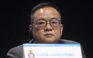 Chen Yansheng, en la junta de accionistas del Espanyol de este miércoles en el Auditori de Cornellà.