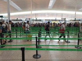 Control de seguridad del Aeropuerto de Barcelona durante la huelga de los trabajadores de Trablisa.