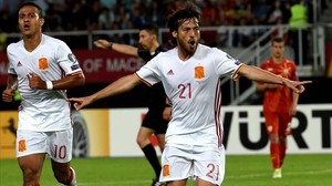 David Silva celebra un gol contra Macedonia.