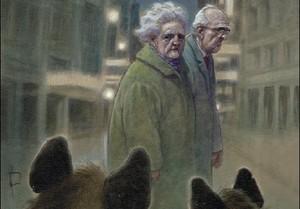 Detalle de la portada del nuevo cómic de Miguelanxo Prado, 'Presas fáciles', que presenta en el Salón del Cómic y que denuncia los desahucios y las preferentes.