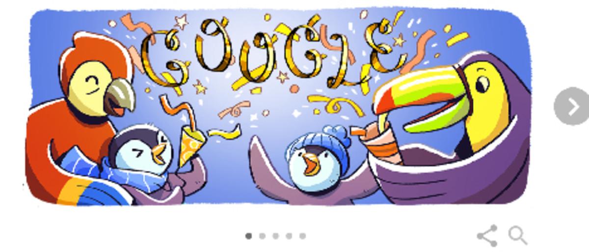 Google celebra la Nochevieja con su 'doodle' de pingüinos y aves tropicales