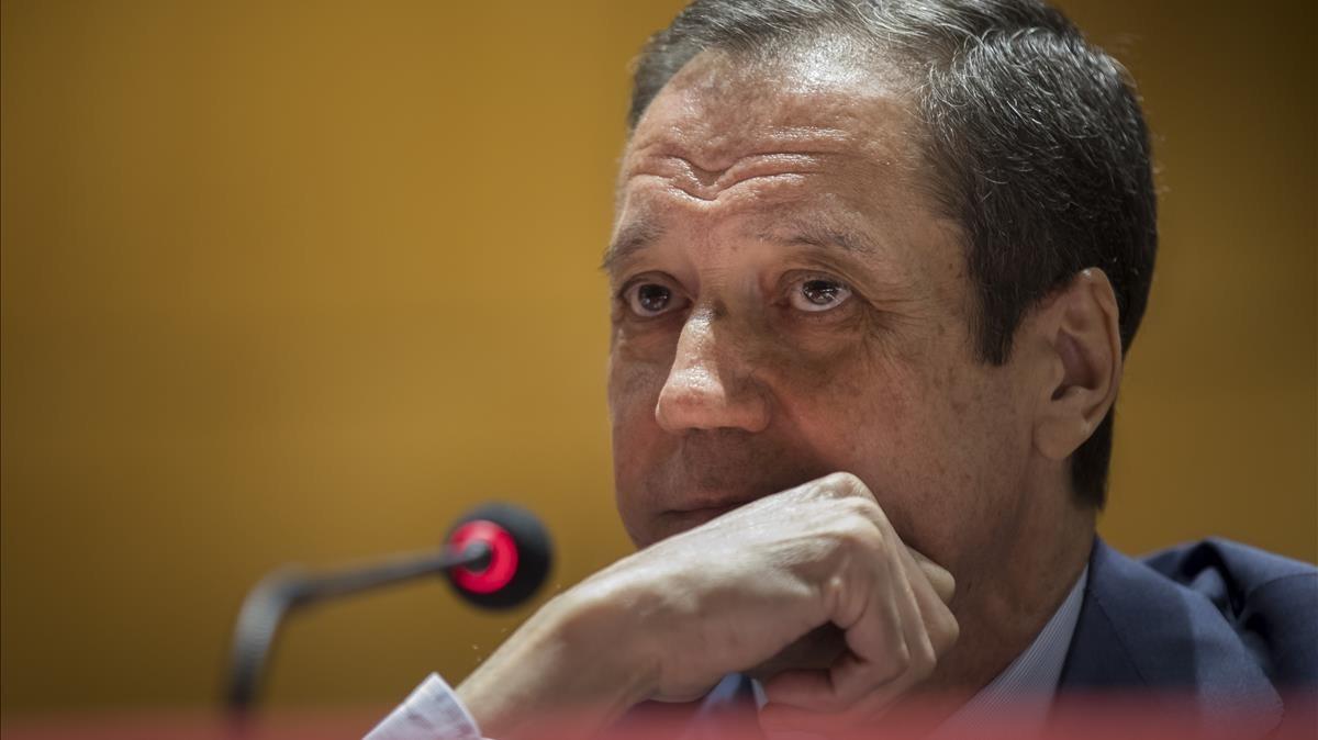 Eduardo Zaplana, el pasado mes de abril, en una conferencia sobre la España de las autonomías, en València.
