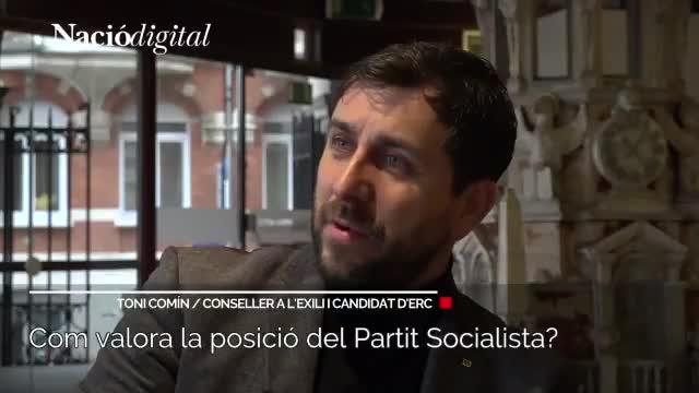 El 'exconseller' Toni Comín interviene vía vídeo en el acto de campaña de ERC de este jueves, en Sant Andreu de la Barca.